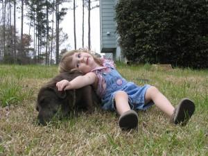 Girl-Playing-with-Dog